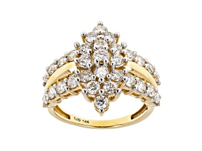 White Lab-Grown Diamond 14k Yellow Gold Cluster Ring 1.95ctw