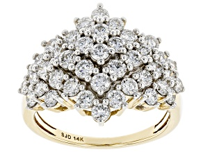 White Lab-Grown Diamond 14k Yellow Gold Cluster Ring 2.00ctw