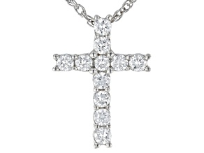 "White Lab-Grown Diamond Rhodium Over Sterling Silver Cross Pendant With 18"" Rope Chain 0.25ctw"