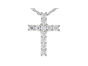 "White Lab-Grown Diamond Rhodium Over Sterling Silver Cross Pendant With 18"" Rope Chain 0.50ctw"