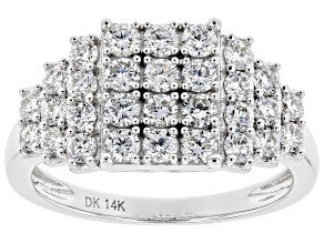 White Lab-Grown Diamond 14k White Gold Cluster Ring 1.19ctw