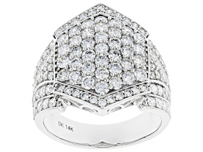 White Lab-Grown Diamond 14k White Gold Statement Ring 2.66ctw