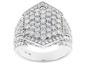 White Lab-Grown Diamond 14k White Gold Statement Ring 2.66ctw