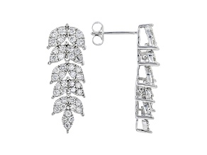 White Lab-Grown Diamond 14k White Gold Dangle Earrings 1.49ctw