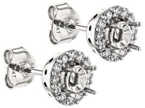 White Lab-Grown Diamond 14k White Gold Earring Jackets 0.24ctw
