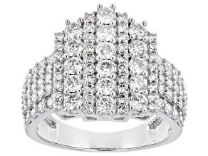 White Lab-Grown Diamond 14k White Gold Cluster Ring 1.90ctw