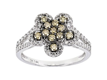 Picture of White And Champagne Lab-Grown Diamond 14k White Gold Flower Cluster Ring 0.85ctw