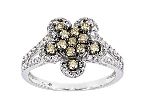 White And Champagne Lab-Grown Diamond 14k White Gold Flower Cluster Ring 0.85ctw