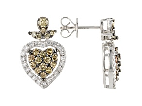 Champagne And White Lab-Grown Diamond 14k White Gold Heart Cluster Earrings 1.49ctw