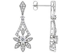 White Lab-Grown Diamond 14k White Gold Dangle Earrings 1.30ctw