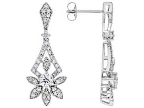 White Lab-Grown Diamond 14k White Gold Dangle Earrings 1.30ctw