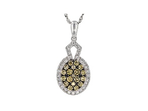 "Champagne & White Lab-Grown Diamond 14k White Gold Cluster Pendant With 18"" Singapore Chain 0.80ctw"