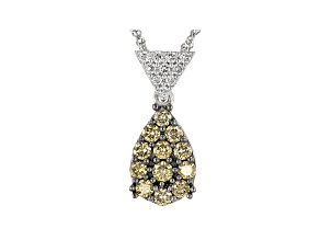 Champagne And White Lab-Grown Diamond 14k White Gold Cluster Pendant With Chain 0.49ctw