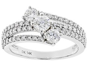 White Lab-Grown Diamond 14k White Gold 3-Stone Ring 1.29ctw