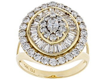 Picture of White Lab-Grown Diamond 14k Yellow Gold Statement Ring 2.00ctw
