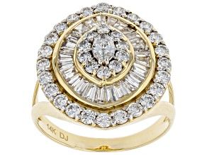 White Lab-Grown Diamond 14k Yellow Gold Statement Ring 2.00ctw