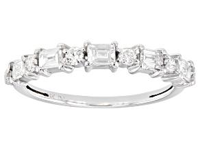 White Lab-Grown Diamond 14k White Gold Band Ring 0.50ctw