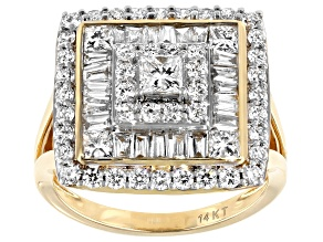 White Lab-Grown Diamond 14k Yellow Gold Statement Ring 2.31ctw