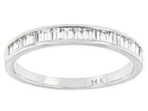 White Lab-Grown Diamond 14k White Gold Band Ring 0.45ctw