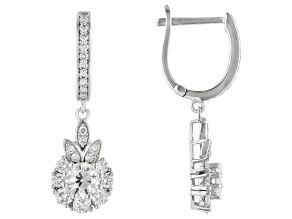 White Lab-Grown Diamond 14k White Gold Dangle Earrings 1.10ctw