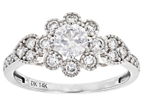White Lab-Grown Diamond 14k White Gold Engagement Ring 1.00ctw