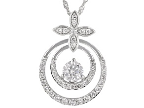 "White Lab-Grown Diamond 14k White Gold Pendant With 18"" Singapore Chain 0.70ctw"