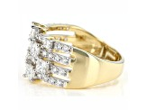 White Lab-Grown Diamond 14k Yellow Gold Wide Band Ring 1.60ctw