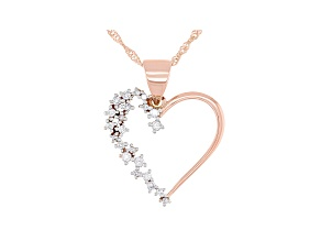"White Lab-Grown Diamond 14k Rose Gold Heart Pedant With 18"" Singapore Chain 0.19ctw"