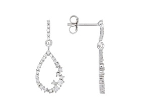 White Lab-Grown Diamond 14k White Gold Teardrop Dangle Earrings 0.50ctw
