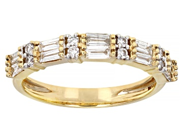 Picture of White Lab-Grown Diamond 14k Yellow Gold Band Ring 0.65ctw