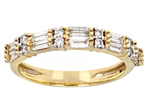 White Lab-Grown Diamond 14k Yellow Gold Band Ring 0.65ctw