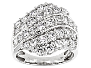 White Lab-Grown Diamond 14k White Gold Bypass Ring 2.50ctw