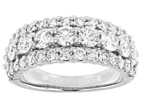 White Lab-Grown Diamond 14k White Gold Multi-Row Ring 2.28ctw