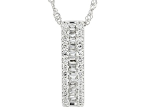 "White Lab-Grown Diamond 14k White Gold Slide Pendant With 18"" Singapore Chain 0.28ctw"
