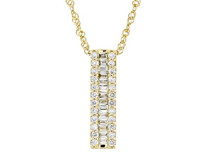 "White Lab-Grown Diamond 14k Yellow Gold Slide Pendant With 18"" Singapore Chain 0.28ctw"