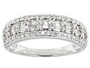 White Lab-Grown Diamond 14k White Gold Band Ring 0.55ctw