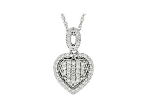 "White Lab-Grown Diamond 14k White Gold Heart Pendant With 18"" Singapore Chain 0.60ctw"