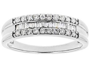 White Lab-Grown Diamond 14k White Gold Band Ring 0.34ctw