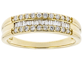 Picture of White Lab-Grown Diamond 14k Yellow Gold Band Ring 0.34ctw