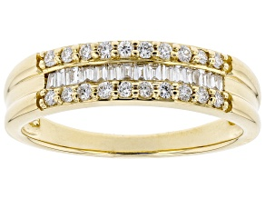 White Lab-Grown Diamond 14k Yellow Gold Band Ring 0.34ctw