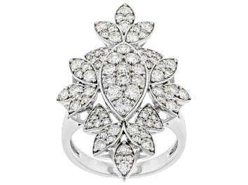 Picture of White Lab-Grown Diamond 14k White Gold Cocktail Ring 2.00ctw
