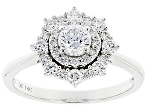 White Lab-Grown Diamond 14k White Gold Halo Engagement Ring 0.95ctw