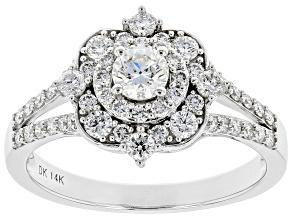 White Lab-Grown Diamond 14k White Gold Center Design Engagement Ring 0.90ctw