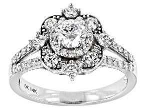 White Lab-Grown Diamond 14k White Gold Engagement Ring 1.20ctw