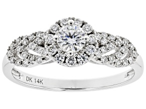 White Lab-Grown Diamond 14k White Gold Halo Engagement Ring 0.60ctw