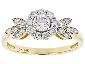 White Lab-Grown Diamond 14k Yellow Gold Engagement Ring 0.73ctw