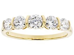White Lab-Grown Diamond 14k Yellow Gold 5-Stone Band
