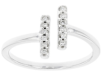 Picture of White Lab-Grown Diamond Rhodium Over Sterling Silver Bypass Ring 0.10ctw