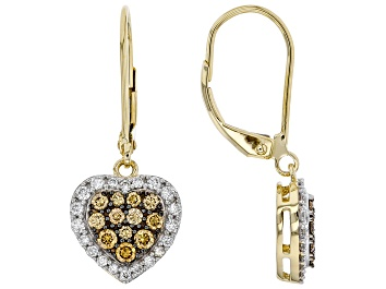 Picture of White and Champagne Lab-Grown Diamond 14k Yellow Gold Dangle Heart Earrings 0.65ctw