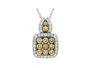 "White and Champagne Lab-Grown Diamond 14k Whtie Gold Cluster Slide Pendant With 18"" Chain 0.94ctw"